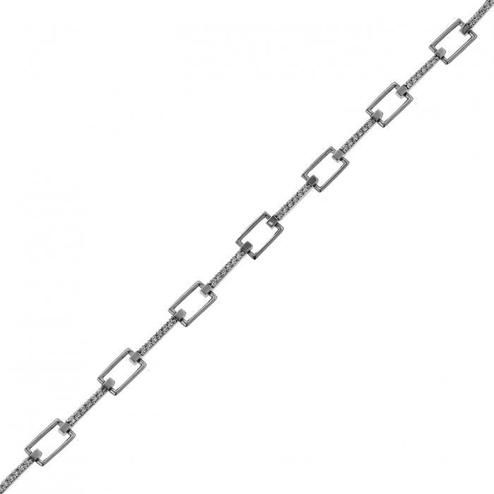SKU-46573 / Βραχιόλι Λευκόχρυσος Κ9 με Ζιργκόν