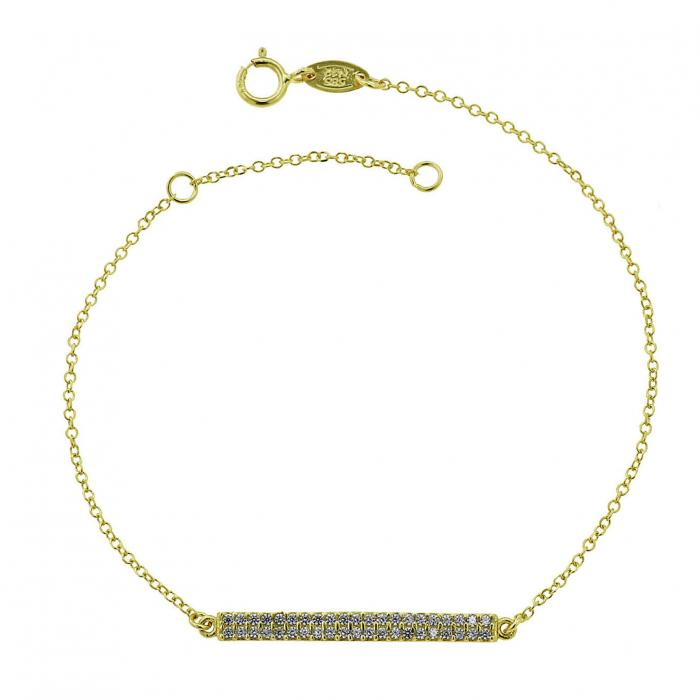 SKU-46610 / Βραχιόλι Μπάρα Χρυσός Κ14 με Ζιργκόν