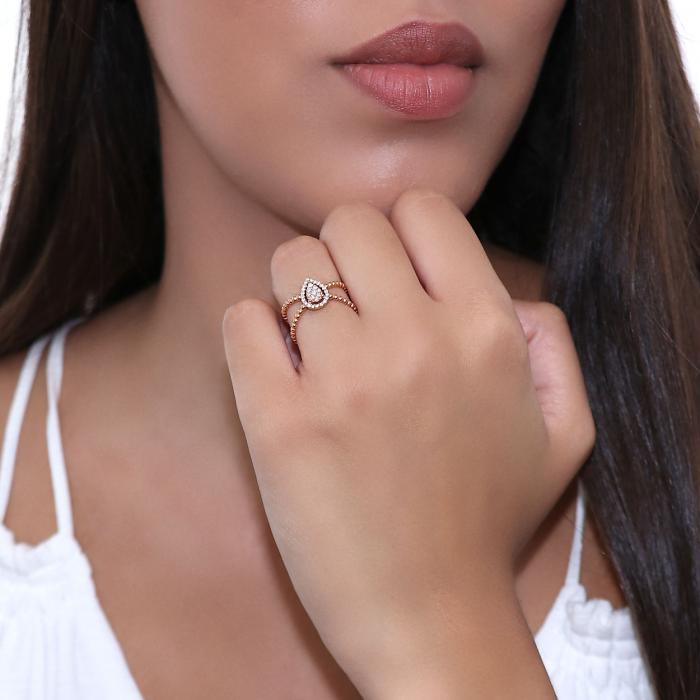 Δαχτυλίδι Ροζέτα Ροζ Χρυσός Κ18 με Διαμάντια