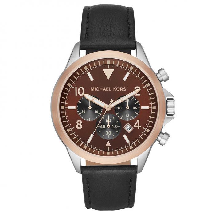 SKU-46218 / MICHAEL KORS Chronograph Gage Black Leather Strap