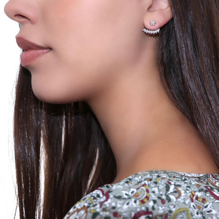 SKU-46503 / Σκουλαρίκια Ear Jacket Λευκόχρυσος Κ9 με Ζιργκόν