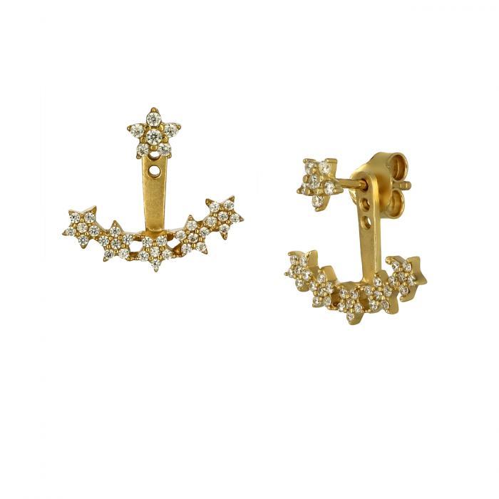 SKU-46506 / Σκουλαρίκια Ear Jacket Χρυσός Κ9 με Ζιργκόν