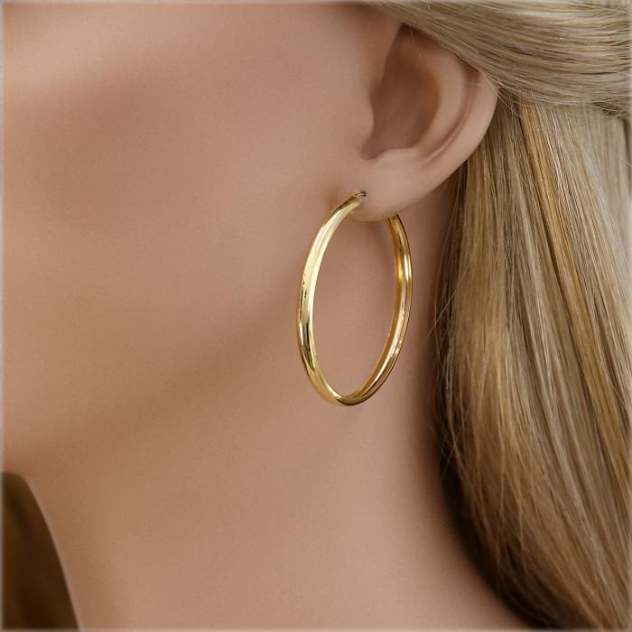SKU-46113 / Σκουλαρίκια Κρίκοι Χρυσός Κ14