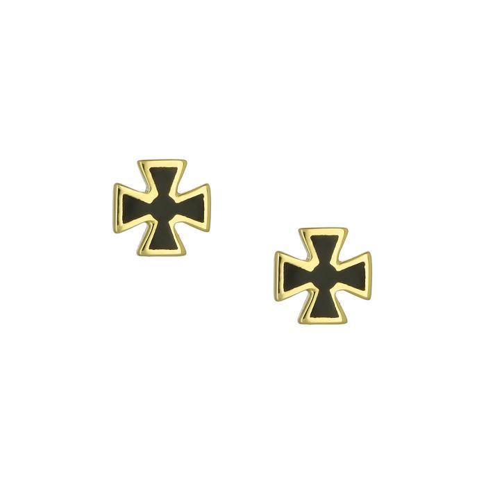 SKU-46915 / Σκουλαρίκια Σταυρός Χρυσός Κ9 με Σμάλτο