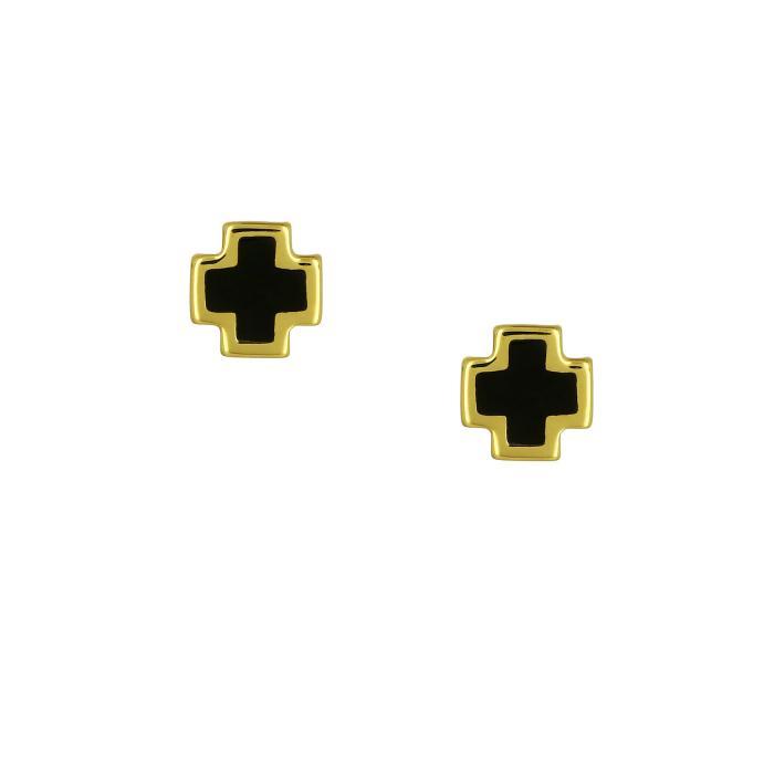 SKU-46914 / Σκουλαρίκια Σταυρός Χρυσός Κ9 με Σμάλτο