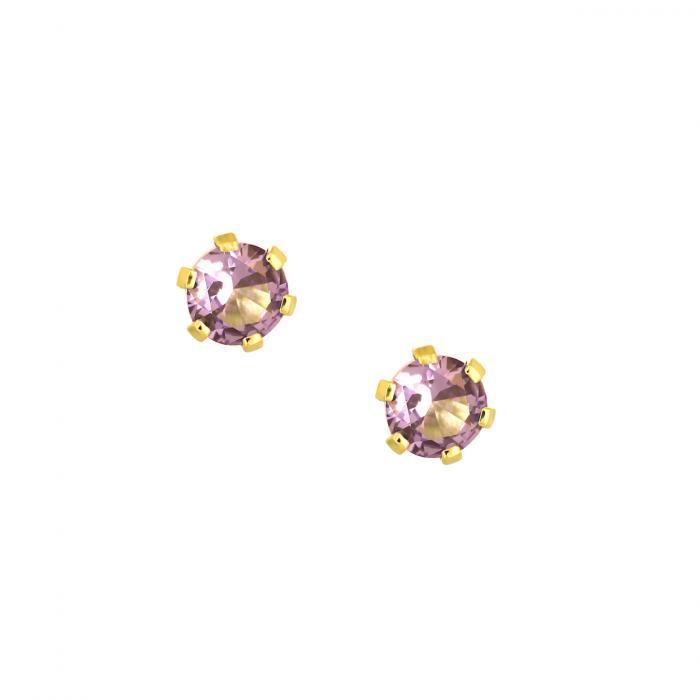SKU-46422 / Σκουλαρίκια Μονόπετρο Χρυσός Κ9 με Ζιργκόν