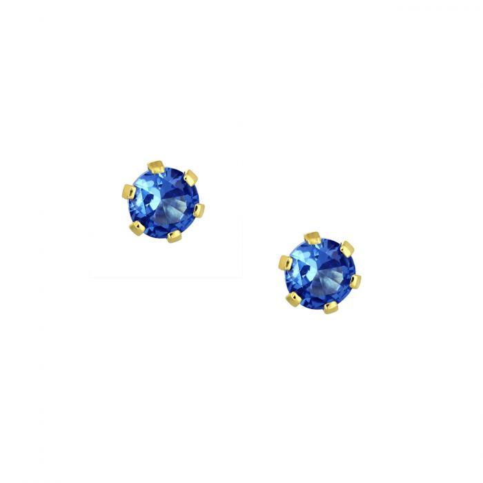 SKU-46425 / Σκουλαρίκια Μονόπετρο Χρυσός Κ9 με Ζιργκόν