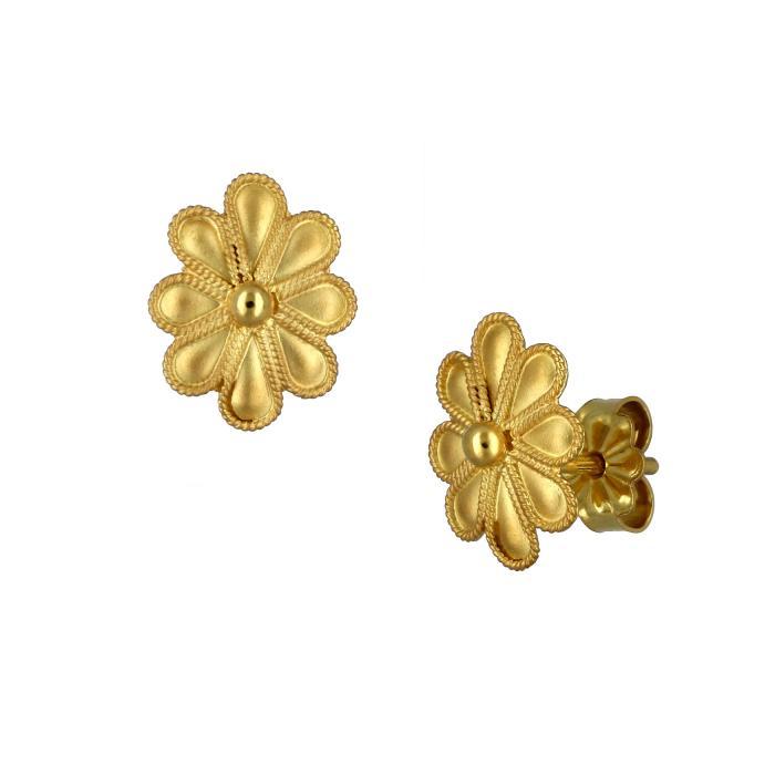 SKU-46040 / Σκουλαρίκια Λουλούδι Χρυσός Κ18