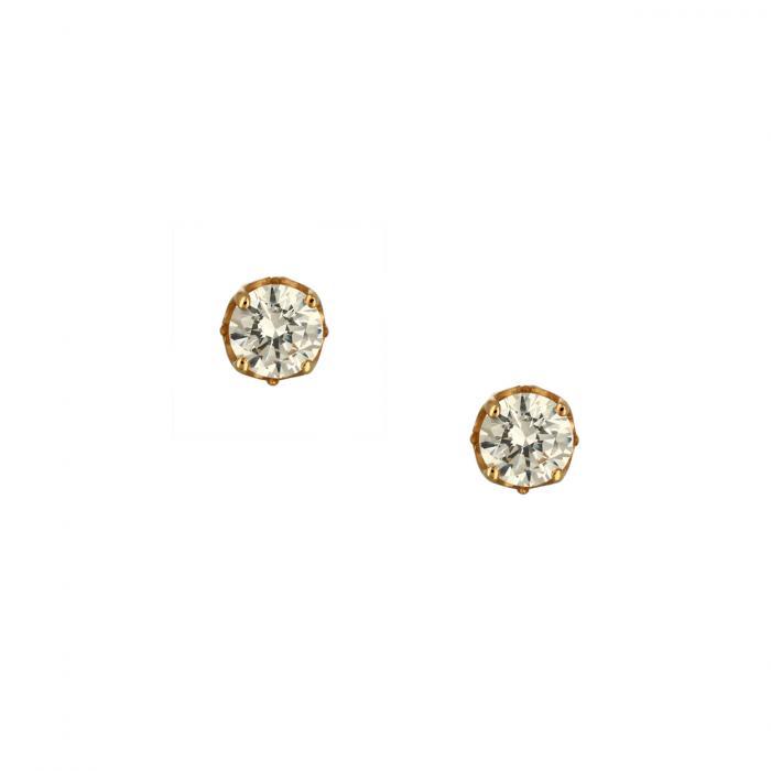 SKU-46596 / Σκουλαρίκια Μονόπετρο Ροζ Χρυσός Κ14 με Ζιργκόν