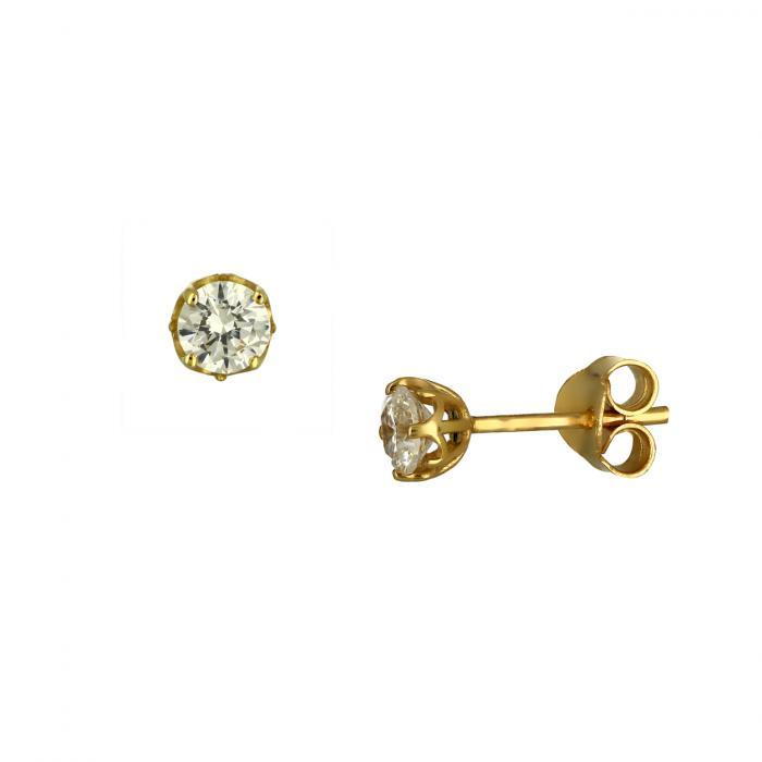 SKU-46598 / Σκουλαρίκια Μονόπετρο Χρυσός Κ14 με Ζιργκόν