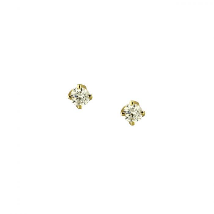 SKU-46551 / Σκουλαρίκια Μονόπετρο Χρυσός Κ9 με Ζιργκόν