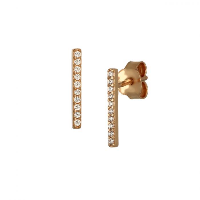 SKU-46522 / Σκουλαρίκια Ροζ Χρυσός Κ9 με Ζιργκόν