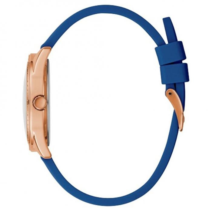 GUESS Crystals Blue Rubber Strap