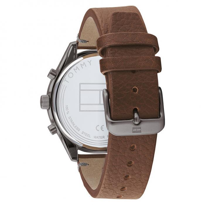 SKU-47742 / TOMMY HILFIGER Bennett Dual Time Brown Leather Strap