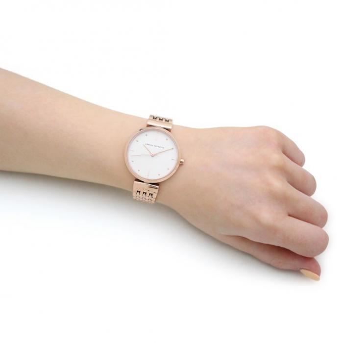 ARMANI EXCHANGE Zoe Rose Gold Stainless Steel Bracelet