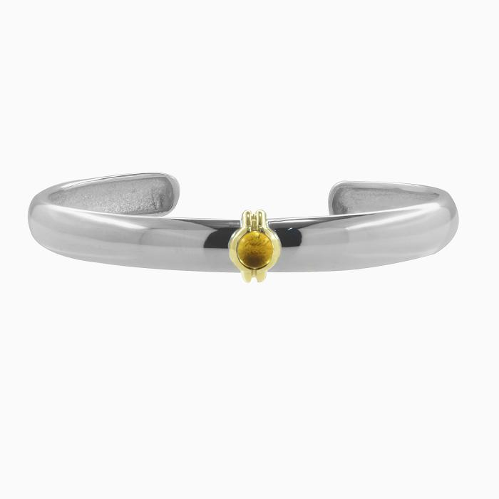 SKU-47804 / Βραχιόλι Χειροπέδα Ασήμι 925° & Χρυσός Κ14 με Citrine