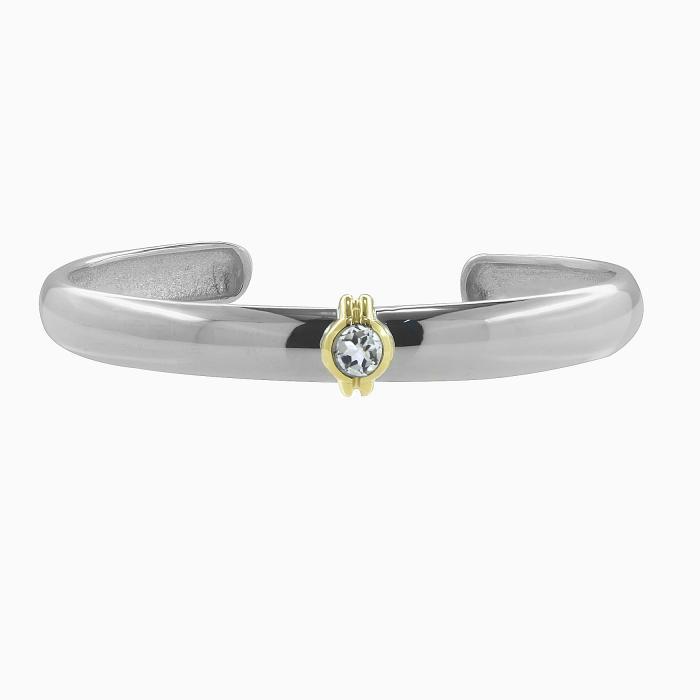 SKU-47805 / Βραχιόλι Χειροπέδα Ασήμι 925° & Χρυσός Κ14 με White Topaz