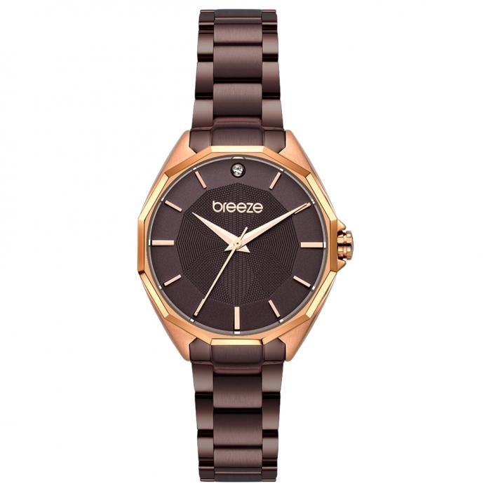 SKU-47904 / BREEZE Hermosa Crystals Brown Stainless Steel Bracelet