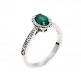 Δαχτυλίδι Λευκόχρυσος Κ18 με Σμαράγδι  & Διαμάντια SKU-47153