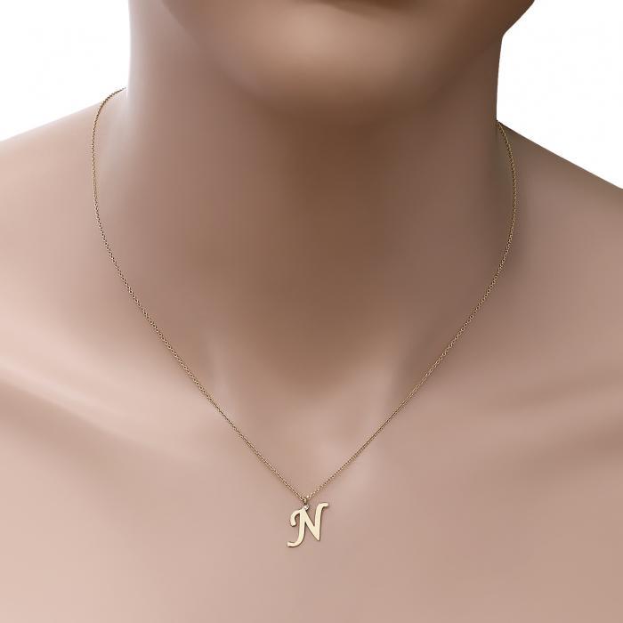 Κολιέ Μονόγραμμα Ν Χρυσός Κ14 με Διαμάντι