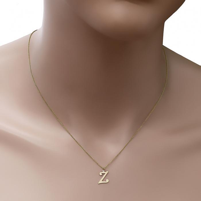 Κολιέ Μονόγραμμα Ζ Χρυσός Κ14 με Διαμάντι