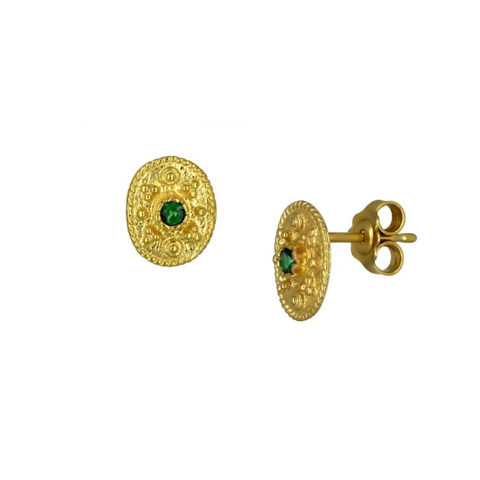 SKU-47293 / Σκουλαρίκια Καρφωτά Χρυσός Κ14 με Ζιργκόν