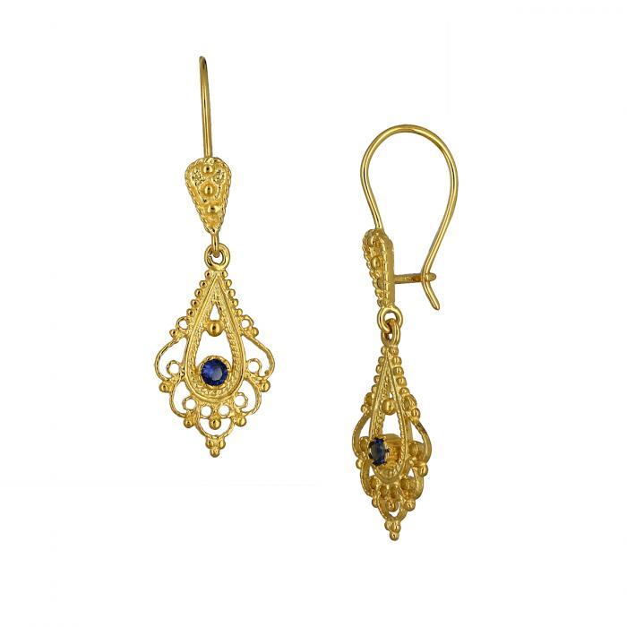 SKU-47289 / Σκουλαρίκια Κρεμαστά Βυζαντινά Χρυσός Κ14 με Ζιργκόν