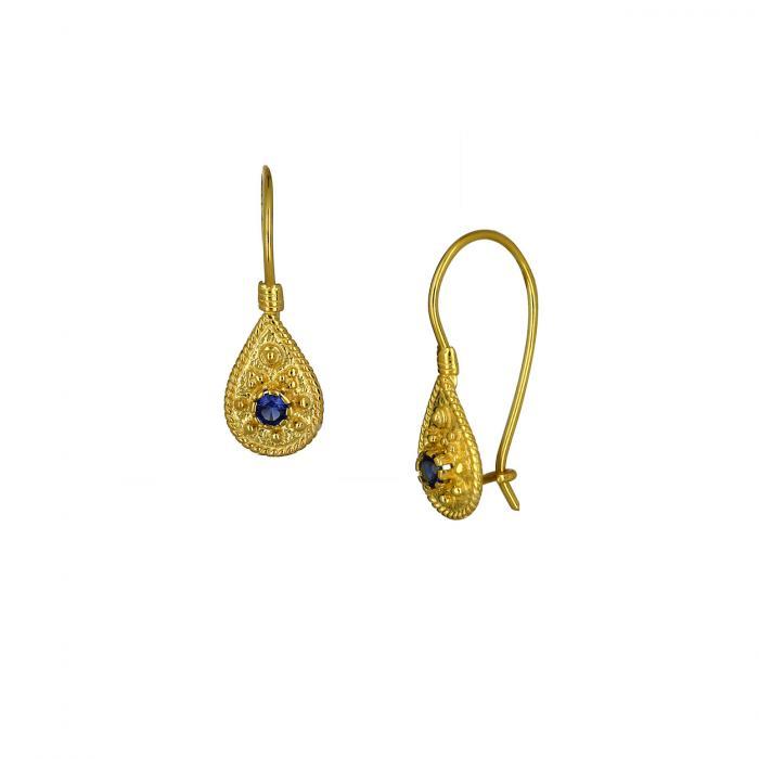 SKU-47296 / Σκουλαρίκια Κρεμαστά Βυζαντινά Χρυσός Κ14 με Ζιργκόν
