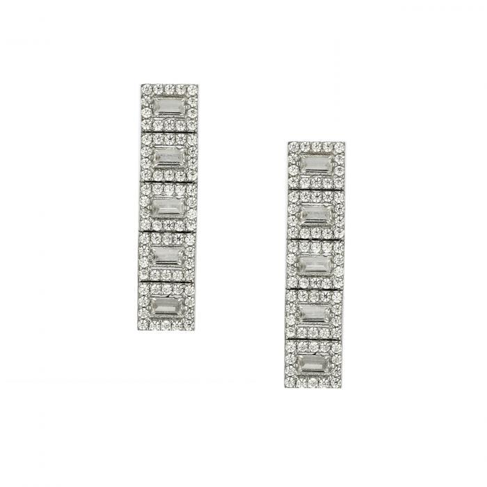 SKU-47185 / Σκουλαρίκια Λευκόχρυσος Κ14 με Ζιργκόν