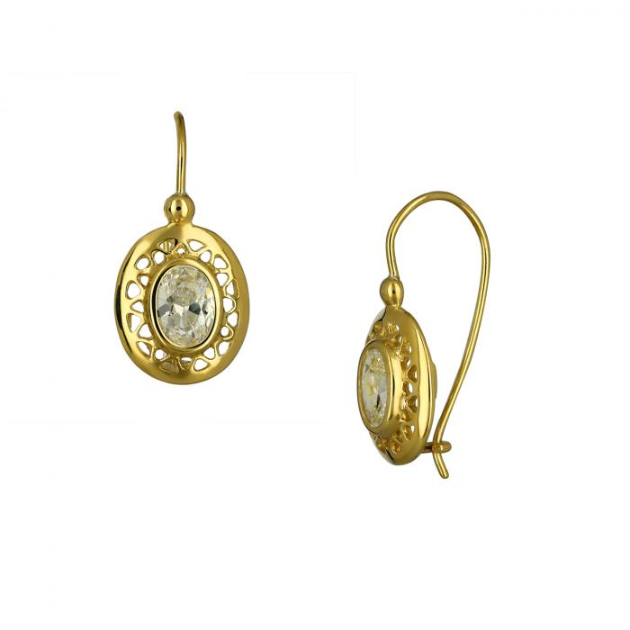 SKU-47297 / Σκουλαρίκια Κρεμαστά Χρυσός Κ14 με Ζιργκόν