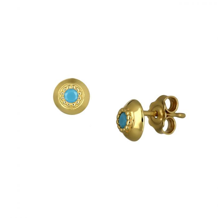 SKU-47284 / Σκουλαρίκια Χρυσός Κ9 με Τιρκουάζ
