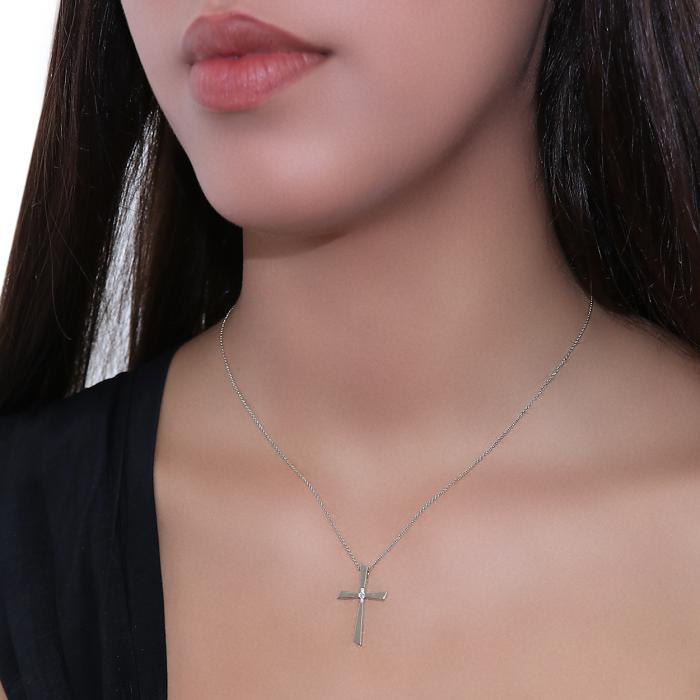 Σταυρός με Αλυσίδα Λευκόχρυσος Κ14 με Διαμάντια