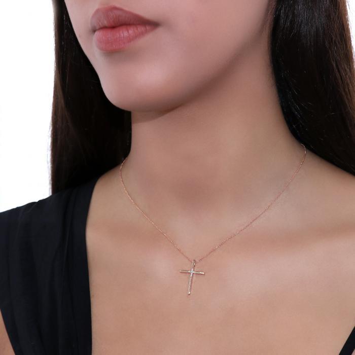 Σταυρός με Αλυσίδα Ροζ Χρυσός Κ14 με Διαμάντια