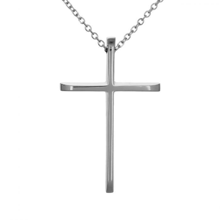 SKU-47498 / Σταυρός με Αλυσίδα Λευκόχρυσος Κ14