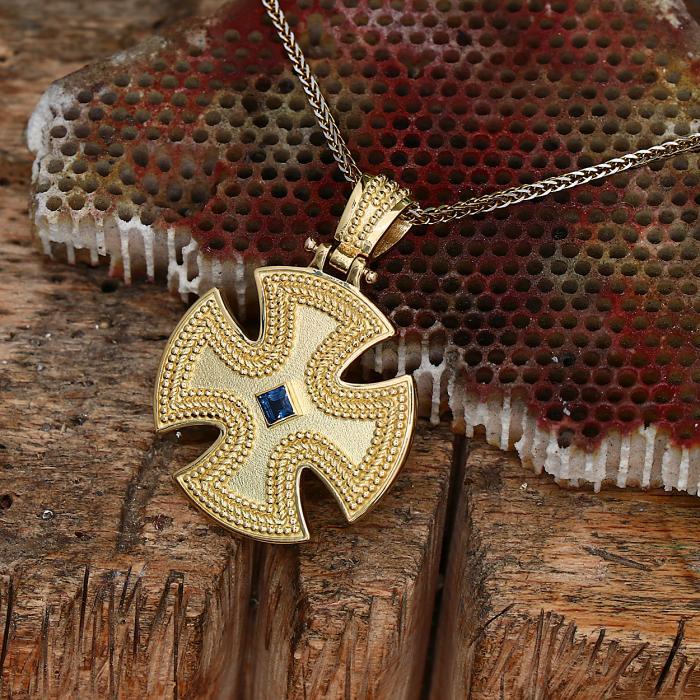 SKU-47701 / Σταυρός Χειροποίητος Βυζαντινός Χρυσός Κ18 με Ζαφείρι