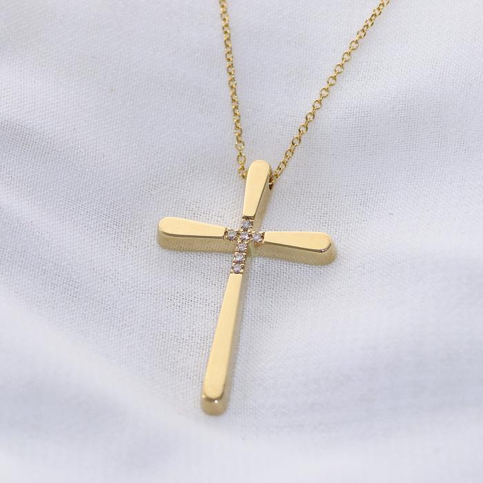 Σταυρός Χειροποίητος με Αλυσίδα Χρυσός Κ14 με Διαμάντια
