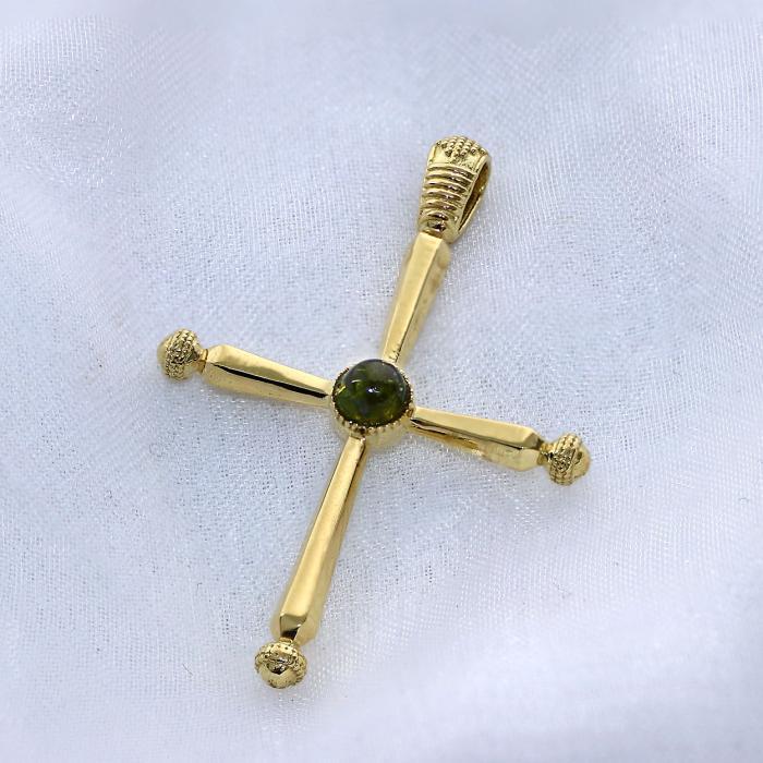 SKU-47437 / Σταυρός Χρυσός Κ18 με Green Tourmaline