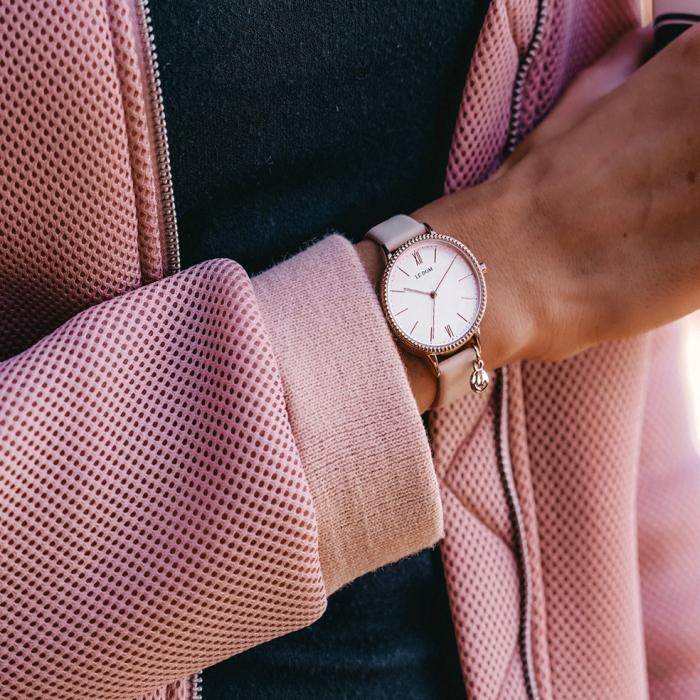 LE DOM Anchor Pink Leather Strap