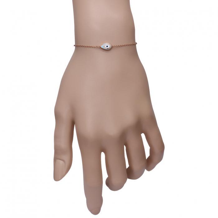 SKU-48330 / Βραχιόλι Ματάκι Διπλής Όψεως Ροζ Χρυσός Κ14 με Ζιργκόν & Σμάλτο