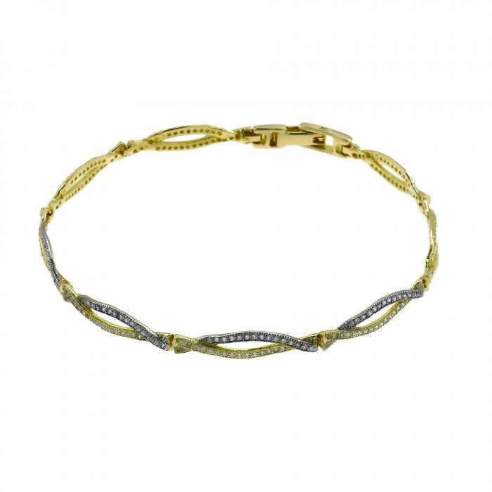 SKU-48881 / Βραχιόλι Χρυσός & Λευκόχρυσος Κ14 με Ζιργκόν