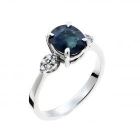 Δαχτυλίδι Λευκόχρυσος Κ18 με Ζαφείρι & Διαμάντια SKU-48441