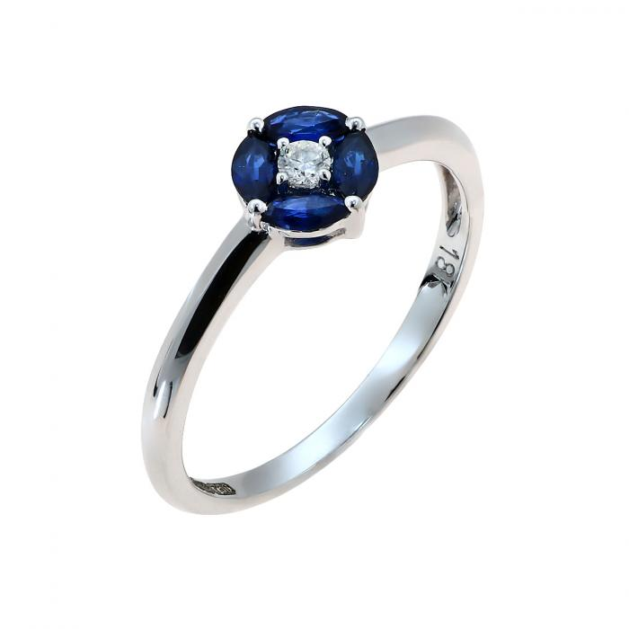 SKU-48073 / Δαχτυλίδι Λευκόχρυσος Κ18 με Ζαφείρια & Διαμάντι