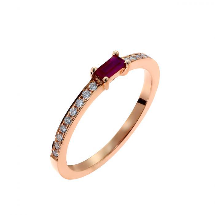 SKU-48083 / Δαχτυλίδι Ροζ Χρυσός Κ18 με Ρουμπίνι & Διαμάντια