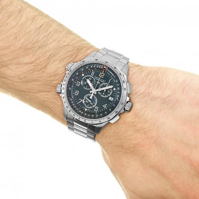 SKU-48483 / HAMILTON Khaki Aviation X-Wind Chronograph Silver Stainless Steel Bracelet