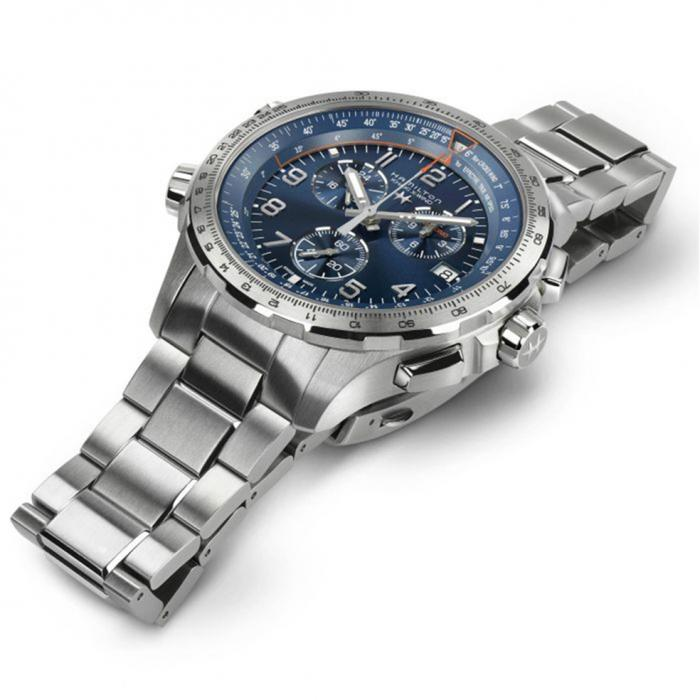 HAMILTON Khaki Aviation X-Wind Chronograph Silver Stainless Steel Bracelet