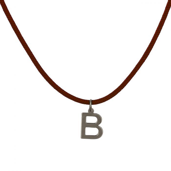 Κολιέ Μονόγραμμα B Λευκόχρυσος Κ14