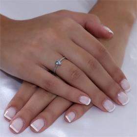 Μονόπετρο Λευκόχρυσος Κ18 με Aquamarine & Διαμάντια Δαχτυλίδια
