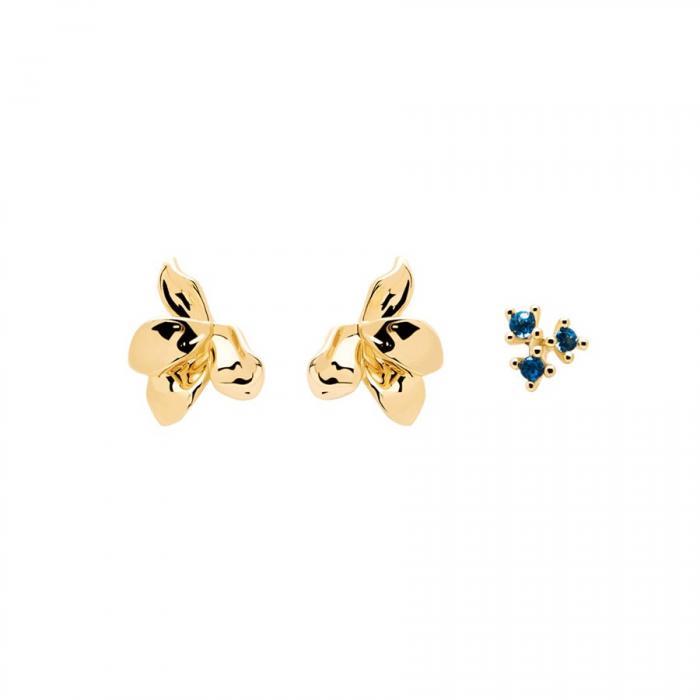 SKU-48829 / Σκουλαρίκια PDPAOLA Fleur Gold με Ζιργκόν