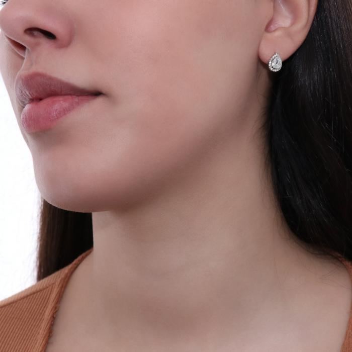SKU-48951 / Σκουλαρίκια Δάκρυ Λευκόχρυσος Κ14 με Ζιργκόν