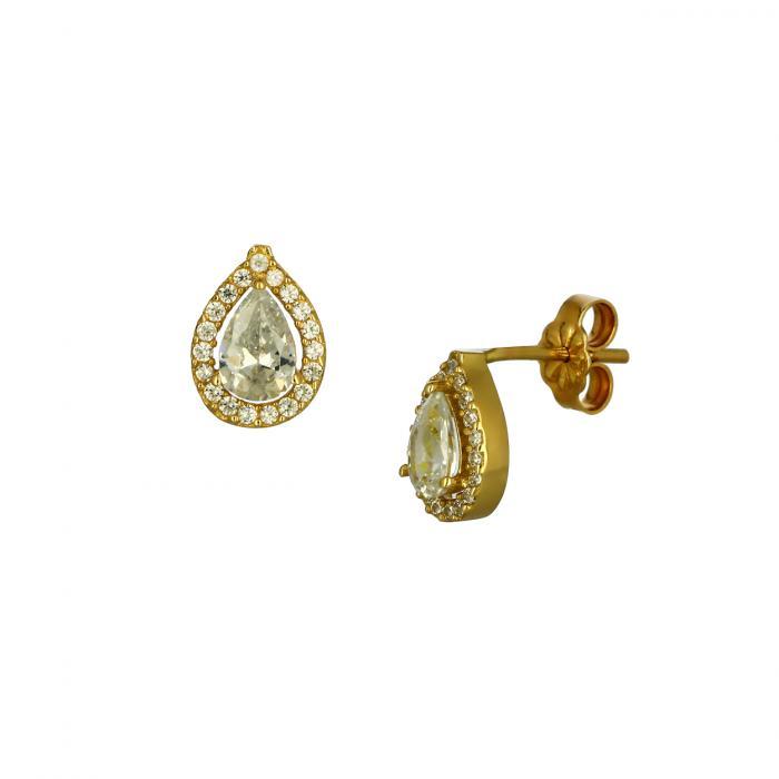 SKU-48952 / Σκουλαρίκια Δάκρυ Χρυσός Κ14 με Ζιργκόν